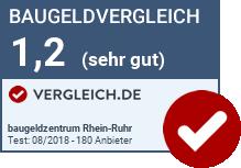 Testergebnis beim Baugeldvergleich des baugeldzentrum Rhein-Ruhr GmbH bei vergleich.de